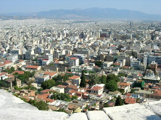 3: Athens: A wide view of the large and enchanting city of Athens, Greece,